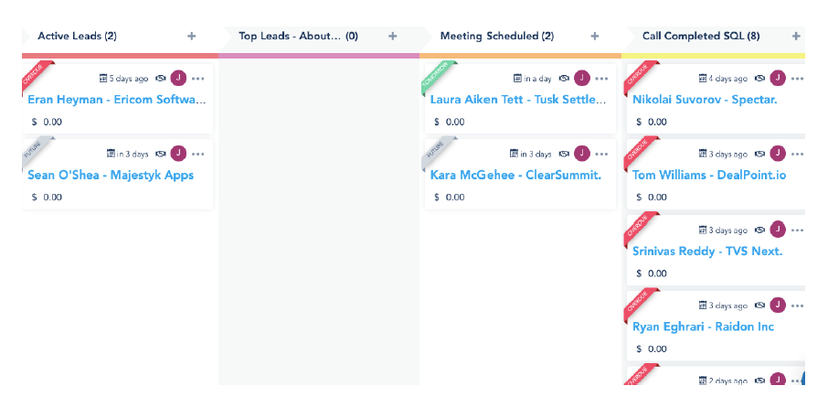 image of sales pipeline on Vbout CRM.