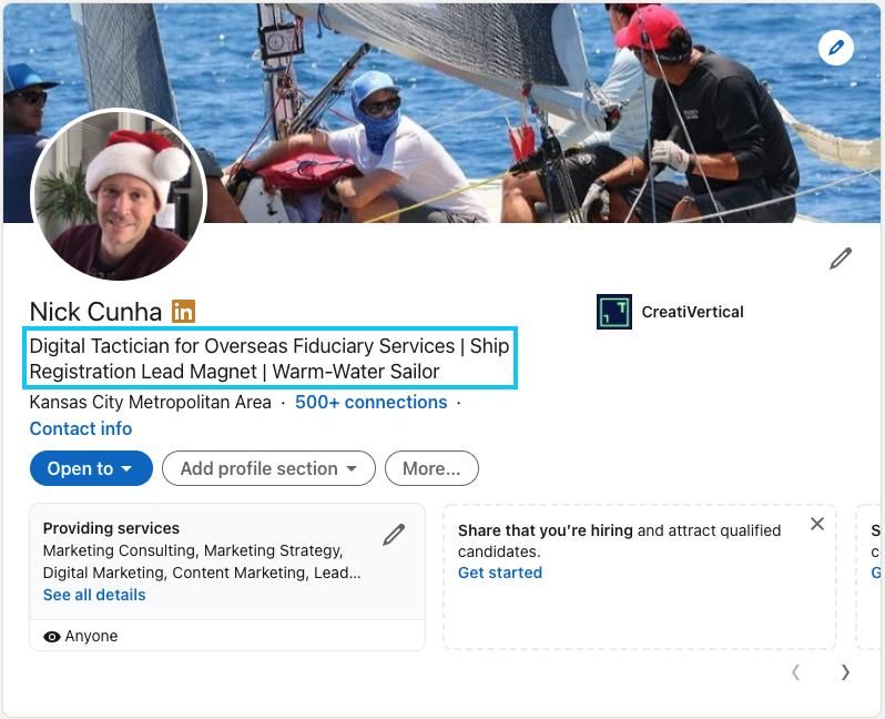 A good LinkedIn Profile headline for a B2B professional